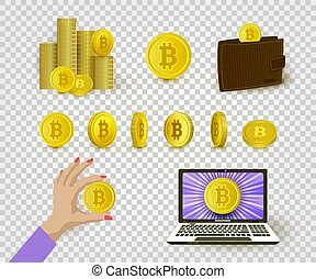 Set of flat cryptocurrency and bitcoin symbols