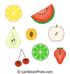 Set of flat cuted fruit icons