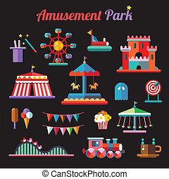 Set of vector flat design amusement park icons