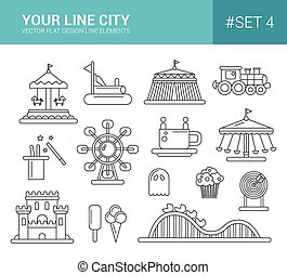 Set of flat design amusement park line icons