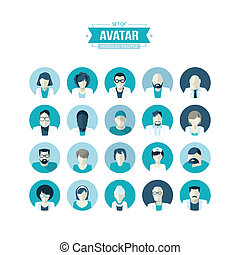 Set of flat design avatar icons