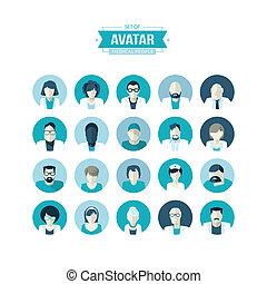 Set of flat design avatar icons