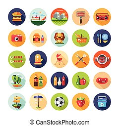 Set of flat design barbecue and summer picnic icons,...