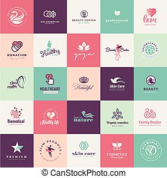 Set of flat design beauty icons