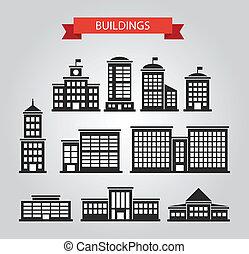 Set of flat design buildings pictograms - Set of vector flat...