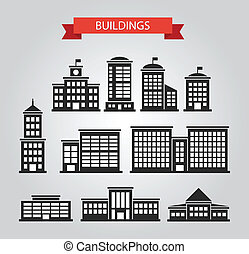 Set of flat design buildings pictograms - Set of vector flat...