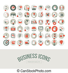 Set of flat design business icons. Icons for business, marketing, education, technology, seo, media, communication, finance, online shopping, e-commerce, creative idea, web and app development, design, social media.