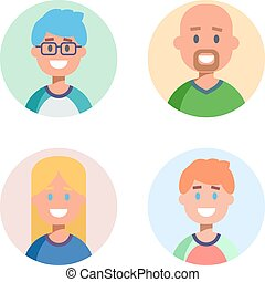 Set of flat design characters icons. Vector