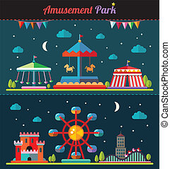 Set of flat design composition with amusement park elements...