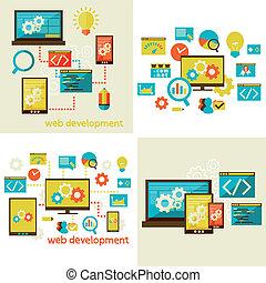 set of flat design concept  for web