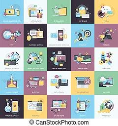 Set of flat design concept icons - Flat design style concept...