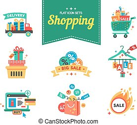 Set of flat design concept icons for beauty and shopping. Icons for beauty, shopping, fashion and love concept.