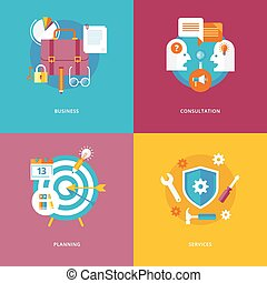 Set of flat design concept icons for business and marketing. Icons for business, consultation, planning and services.