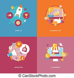 Set of flat design concept icons for business and marketing. Icons for start up, business plan, marketing and e-commerce.