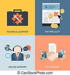 Set of flat design concept icons for business. Technical support