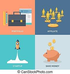 Set of flat design concept icons for business. Portfolio, Affili