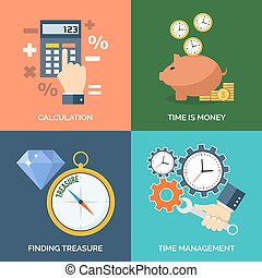 Set of flat design concept icons for business. Calculation, Time