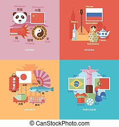 Set of flat design concept icons for foreign languages. Icons for Chinese, Russian, Japanese and Portugese.