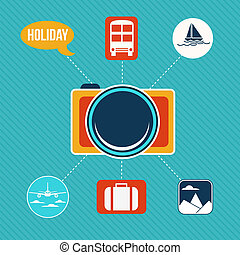 Set of flat design concept icons for holiday and travel