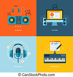 Set of flat design concept icons for music industry.