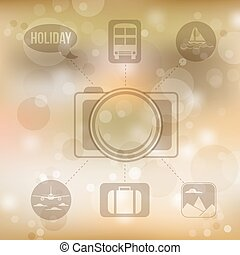 Set of flat design concept icons for holiday and travel on blurred yellow background