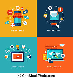 Set of flat design concept icons for web and mobile phone services and apps. Icons for mobile marketing, email marketing, video marketing and digital marketing.
