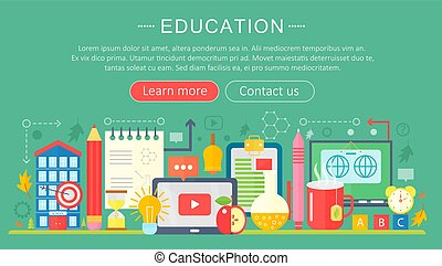 Set of flat design concept icons for web and mobile services and apps. Icons for education, online education, online learning infographics design, web elements, poster banners. Vector illustration.