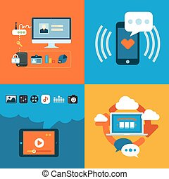 Set of flat design concept icons for web and mobile phone...