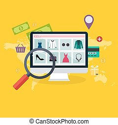Set of flat design concept online shopping and e-commerce. Icons for mobile marketing. Vector illustration.
