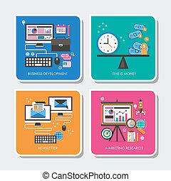 set of flat design concept vector illustration