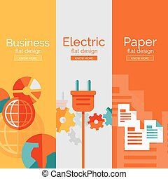 Set of flat design concepts - business, electric