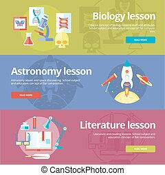 Set of flat design concepts for biology, astronomy, literature lessons. EducationConcepts for web banners and print materials.