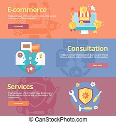 Set of flat design concepts for business e-commerce, consultation, services. Concepts for web banners and print materials