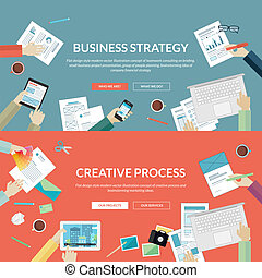 Set of flat design concepts for business strategy and creative process. Concepts for teamwork consulting on briefing, small business project presentation, planning, brainstorming idea of company financial strategy and marketing ideas.