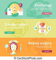 Set of flat design concepts for psychologyst, transplantation, beauty surgery. Medical concepts for web banners and print materials.
