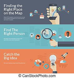 Set of flat design concepts for mobile GPS navigation,...