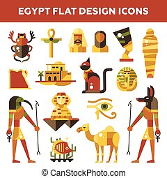 Set of flat design Egypt travel icons, infographics elements...