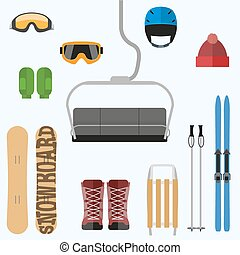 Set of flat design elements on winter sport theme. Vector