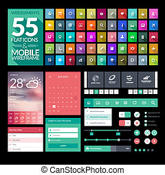 Set of flat design icons, elements, widgets. Template for mobile app and website design