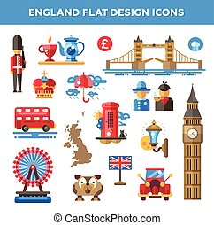 Set of flat design England travel icons, infographics...