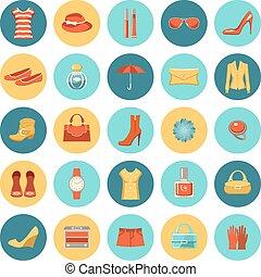 Set of flat design fashion icons.