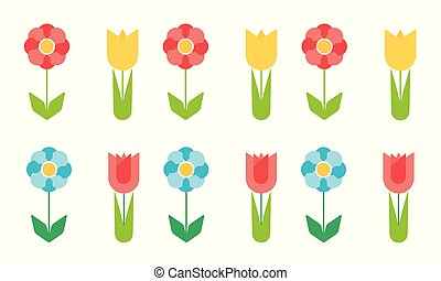 Set of flat design flowers of different colors, vector isolated