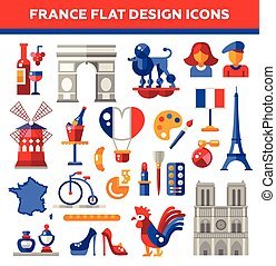 Set of flat design France travel icons, infographics elements with landmarks and famous French symbols