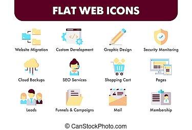 Set of flat design icons and Social media marketing