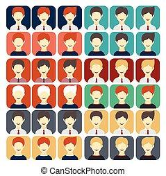set of flat design icons businessman