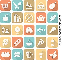 Set of flat design icons for food and drink.