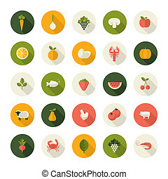 Set of flat design icons for food