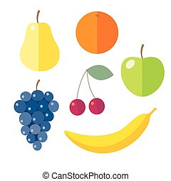 Set of flat design icons for fruits