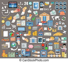 Set of flat design icons for  internet-banking, online payment, mobile payments and bank wire transfer.