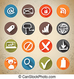 Set of flat design icons for Web design and Internet marketing